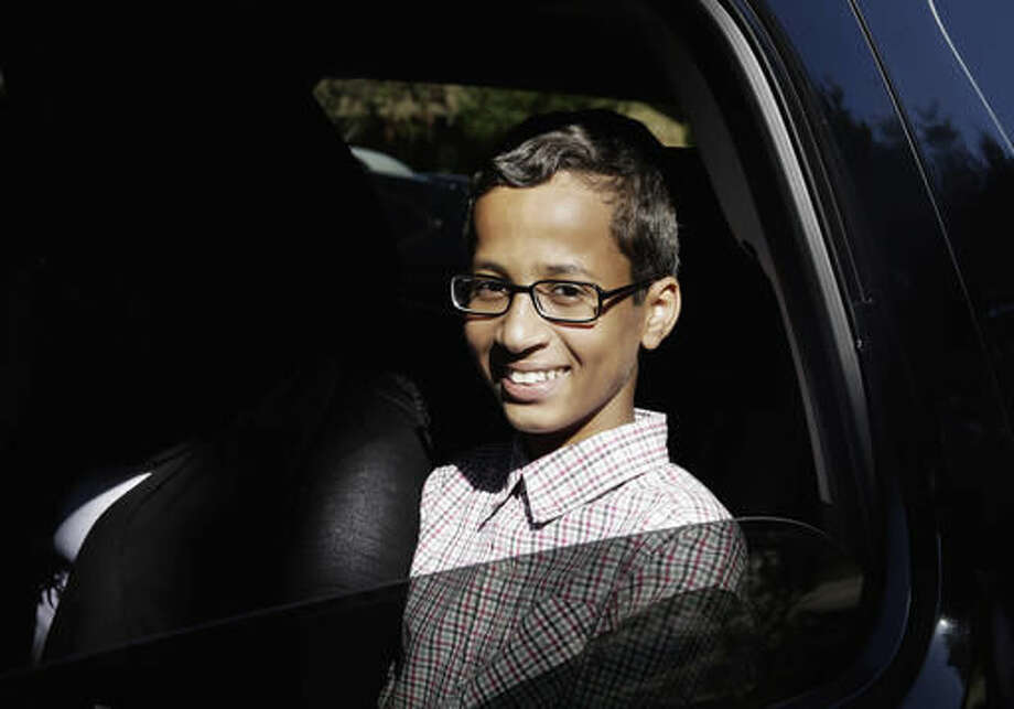 FILE - In this Sept. 17, 2015 file photo, Ahmed Mohamed sits in a vehicle before leaving his family's home in Irving, Texas. The family of Ahmed Mohamed, who was arrested after a homemade clock he brought to school was mistaken for a bomb, filed a lawsuit Monday, Aug. 8, 2016, against Texas school officials saying they violated the boy's civil rights. (AP Photo/LM Otero, File) Photo: LM Otero