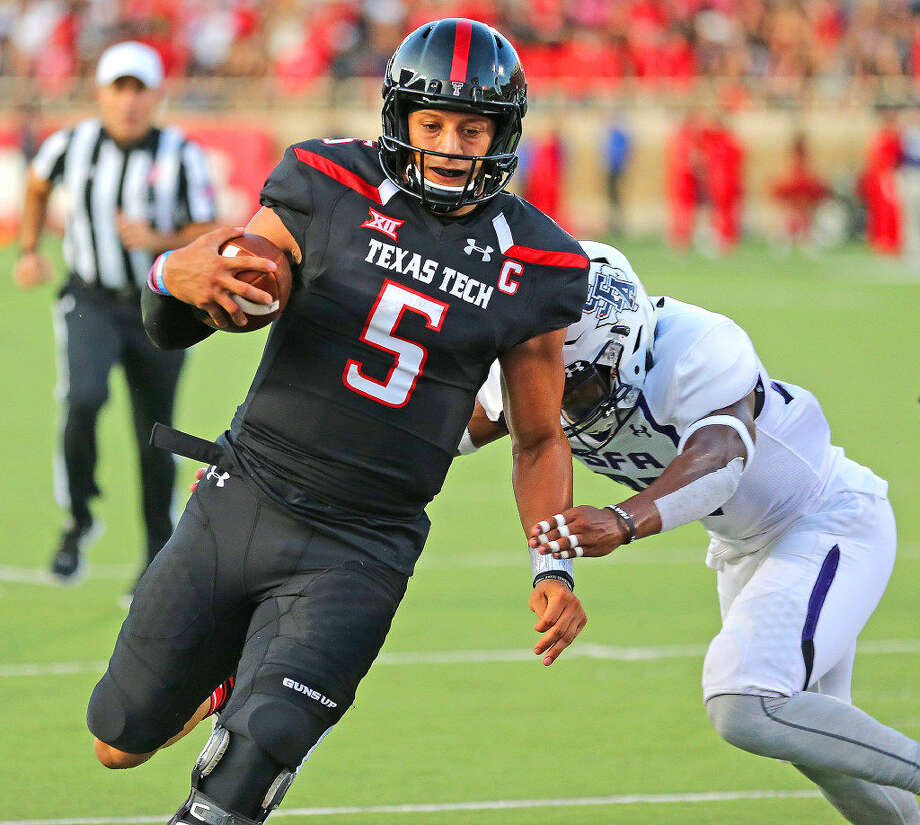 Texas Tech quarterback Patrick Mahomes II scampers into the end zone for a Red Raider score against Stephen F. Austin, Saturday, Sept. 3 at Jones AT&T Stadium. Photo: Wade Clay/Special To The Reporter-Telegram