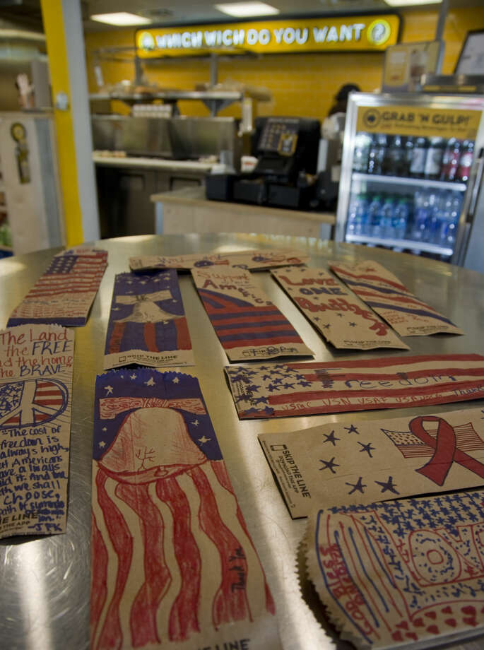 Which Wich has a promotion for customers to decorate their sandwich bags in patriotic themes and they will be sent to Military personnel and veterans. Thursday 06-16-16 Tim Fischer\Reporter-Telegram Photo: Tim Fischer