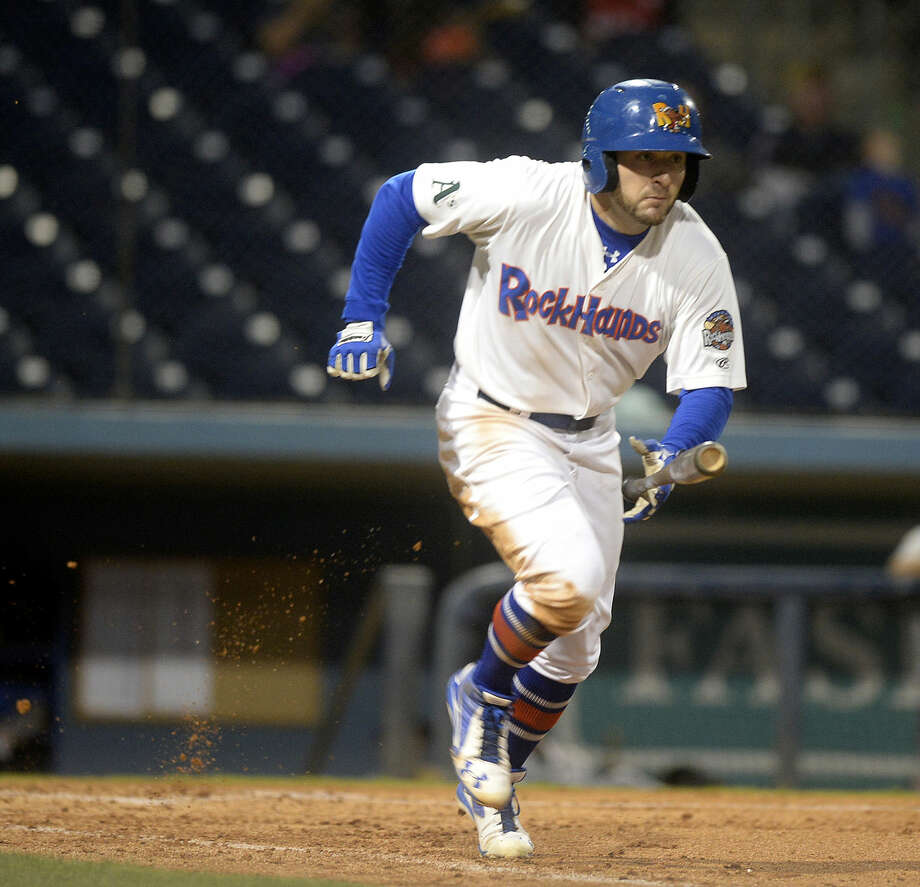 RockHounds' J.P. Sportman runs to first base on a hit against Corpus Christi in game four of the Texas League Division playoff series Saturday, Sept. 10, 2106, at Security Bank Ballpark. James Durbin/Reporter-Telegram Photo: James Durbin
