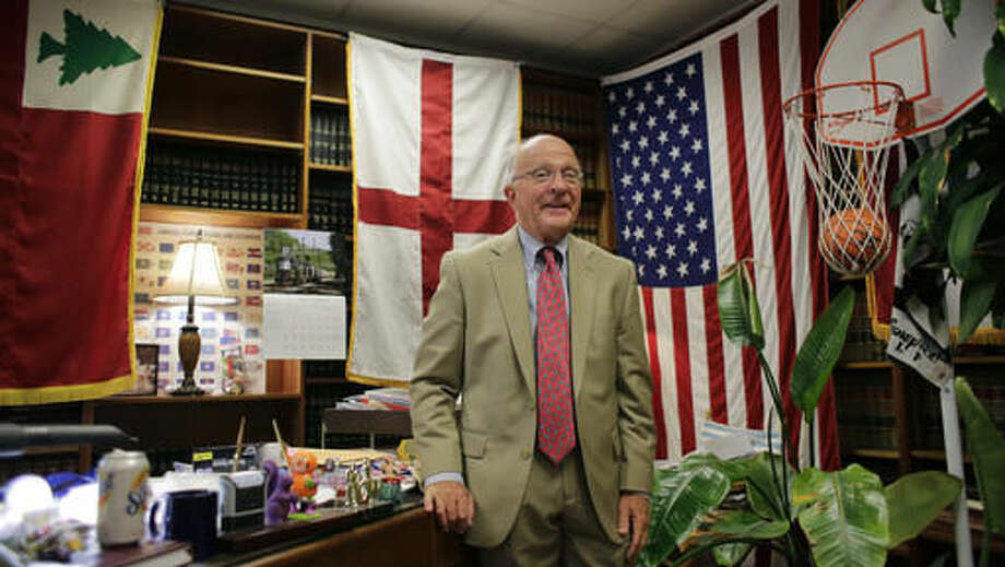 Incumbent Court of Criminal Appeals Judge Lawrence Meyers poses for a photo at his office, Monday, Sept. 12, 2016, in Austin. Meyers switched parties to become a Democrat in 2013 and now faces a tough re-election race. He's the longest-serving judge on Texas' highest criminal court. (AP Photo/Eric Gay) Photo: Eric Gay