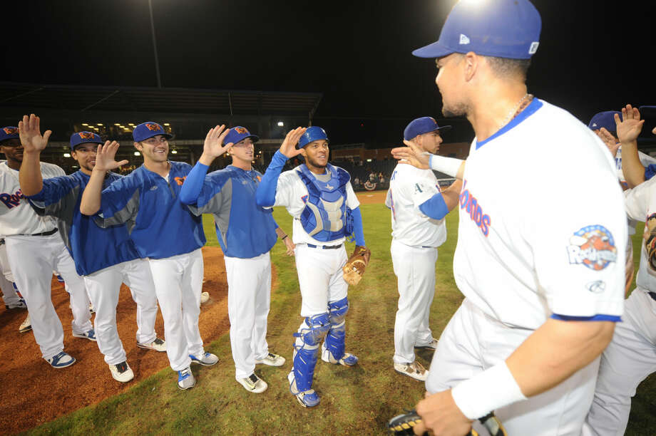 RockHounds players celebrate after clinching the Texas League Division playoff series in four games against Corpus Christi on Saturday, Sept. 10, 2106, at Security Bank Ballpark. James Durbin/Reporter-Telegram Photo: James Durbin