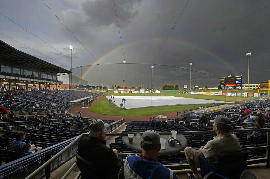A rainbow is visible over Security Bank Ballpark during a rain delay in the Rockhounds game against Springfield on Tuesday, May 31, 2016. James Durbin/Reporter-Telegram Photo: James Durbin