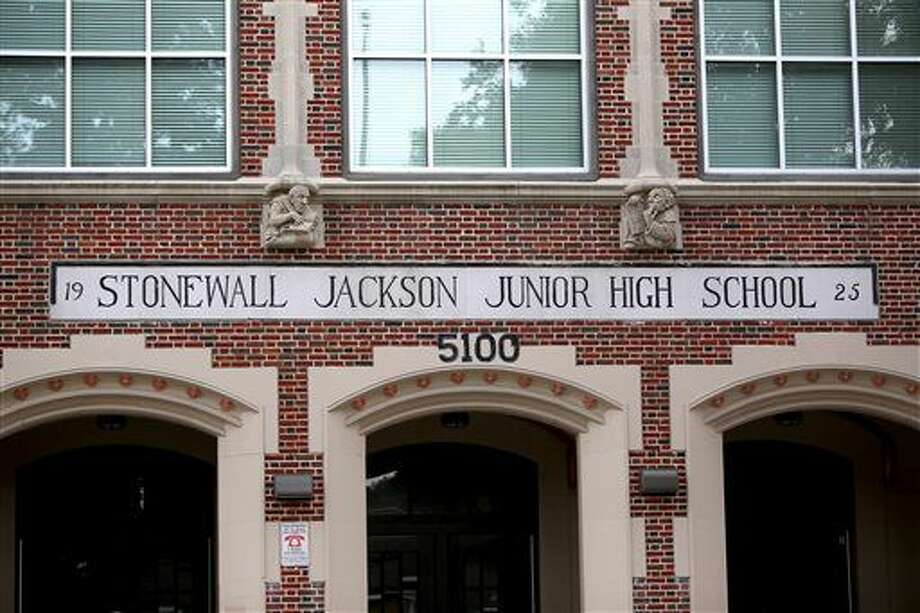 "Thomas ""Stonewall"" Jackson Middle School will be renamed to Yolanda Black Navarro Middle School of Excellence in Houston, Texas. The biggest school district in Texas will consider paying more than $1.2 million as part of changes to rename eight campuses previously named for Confederate leaders. The Houston Chronicle reports the Houston Independent School District board is expected to vote Thursday, Aug. 11, 2016, on a request by the interim superintendent, Ken Huewitt, to approve the cost. (Gary Coronado/Houston Chronicle via AP) Photo: Gary Coronado"