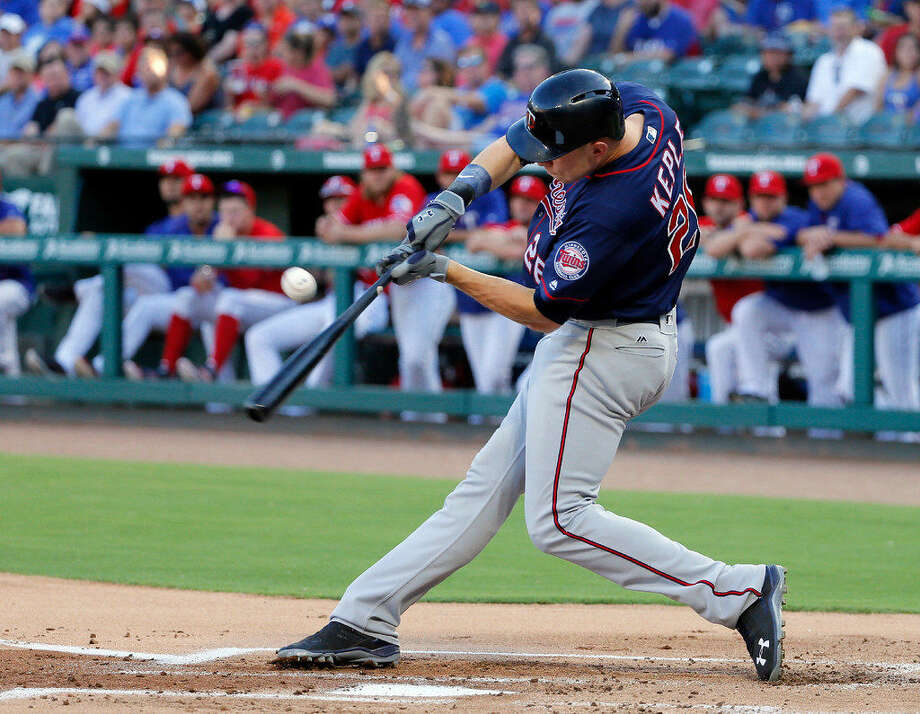 Minnesota Twins' Max Kepler connects for a sacrifice fly out that scored Eduardo Nunez in the first inning of a baseball game against the Texas Rangers on Thursday, July 7, 2016, in Arlington, Texas. (AP Photo/Tony Gutierrez) Photo: Tony Gutierrez | AP