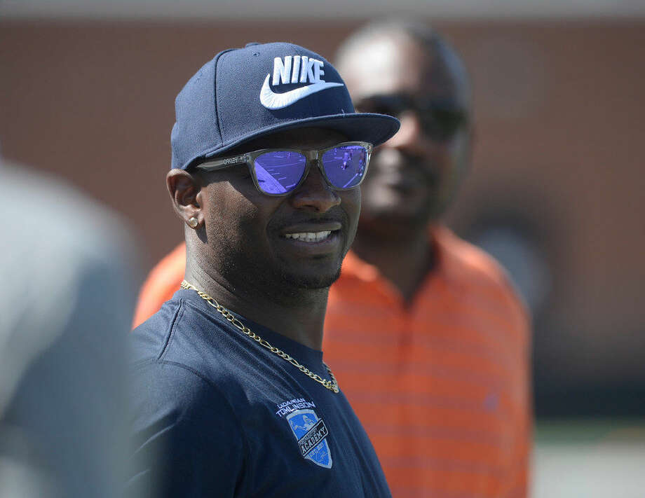 Former NFL player LaDainian Tomlinson coached kids at a football camp Friday, at Midland Christian School. James Durbin/Reporter-Tele­gram Photo: James Durbin/Reporter-Telegram