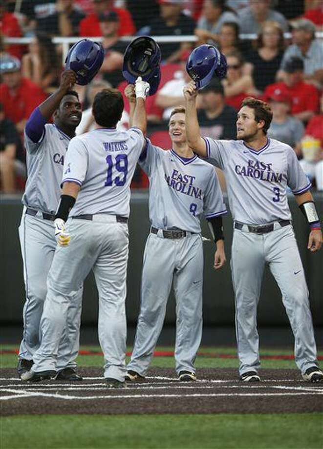 East Carolina's Dwanya Williams-Sutton, Turner Brown (8), and Charlie Yorgen (3) celebrate with Travis Watkins (19) after he hit a grand slam against Texas Tech during an NCAA college baseball tournament super regional game Friday, June 10, 2016, in Lubbock, Texas. (Brad Tollefson/Lubbock Avalanche-Journal via AP) Photo: Brad Tollefson | Lubbock Avalanche-Journal Via Associated Press