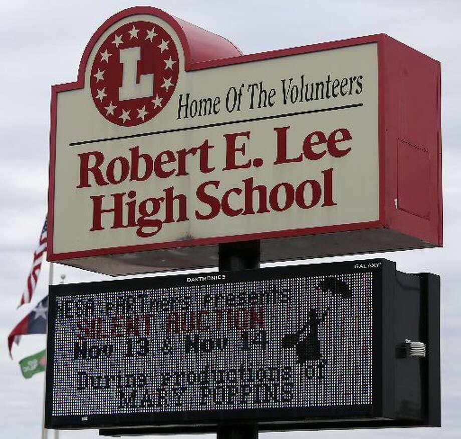 This is the sign atRobertE.LeeHighSchoolThursday November 12, 2015 at 1400 Jackson Keller road in San Antonio, Texas. Photo: San Antonio Express-News