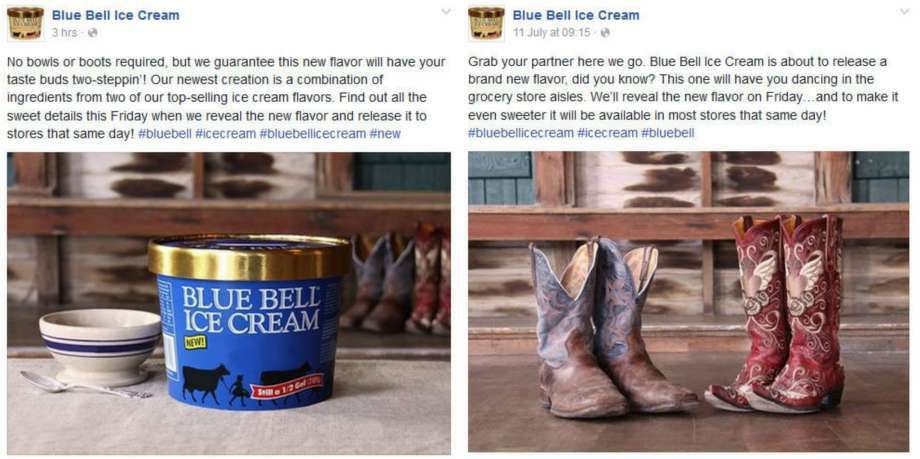 This week the people at Blue Bell Ice Cream teased out an announcement of a new flavor, July 13, 2016. The company posted photos on Instagram and Facebook of two pairs of worn-out cowboy boots to tout the news. (Source: Blue Bell Facebook)