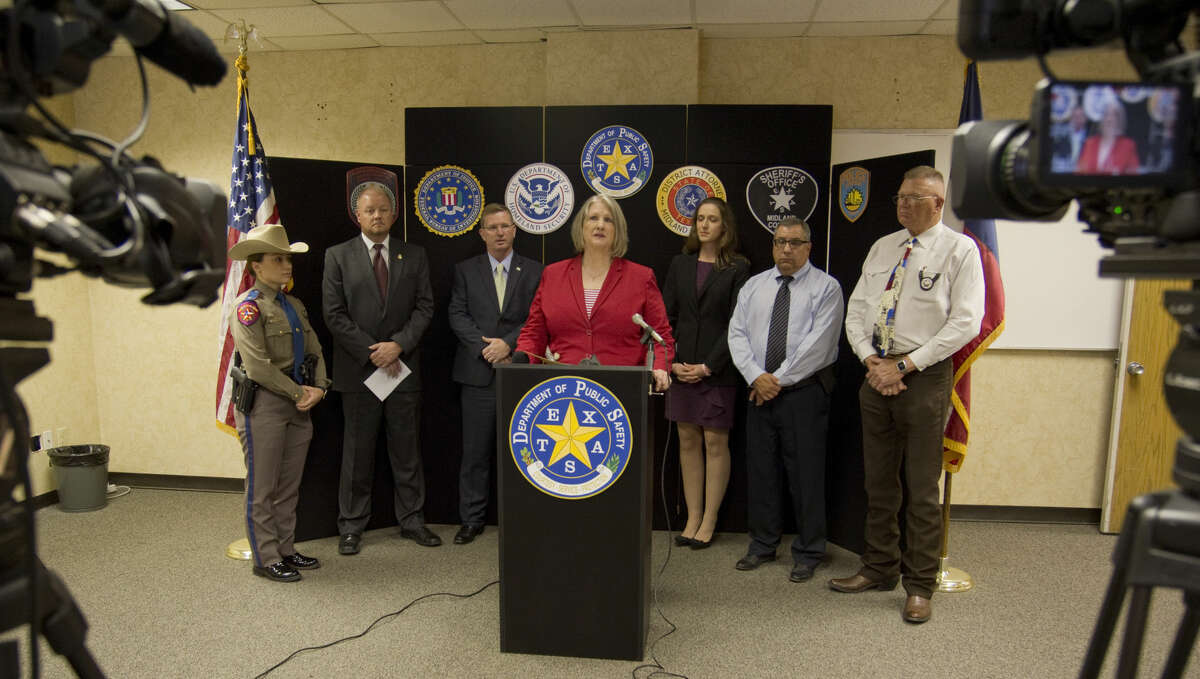 Midland District Attorney Teresa Clingman talks about making the arrests of six online predators for solicitation of a minor during a press conference Thursday 06-09-16 at Midland DPS offices. Tim Fischer\Reporter-Telegram