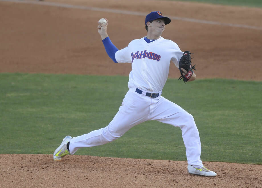 RockHounds starting pitcher Heath Fillmyer pitches against Tulsa on Wednesday, Aug. 7, 2016, at Security Bank Ballpark. James Durbin/Reporter-Telegram Photo: James Durbin