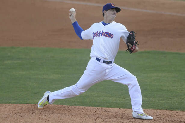 RockHounds starting pitcher Heath Fillmyer pitches against Tulsa on Wednesday, Aug. 7, 2016, at Security Bank Ballpark. James Durbin/Reporter-Telegram
