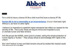 An email letter sent out by Texas Gov. Greg Abbott seeks to raise cash for his re-election by focusing on pro-abortion rights groups threatening to sue over a rule mandating that all fetuses be buried or cremated.
