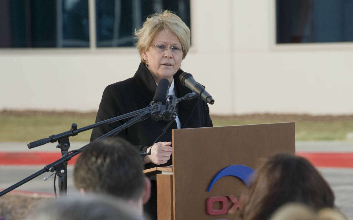 Vicki Hollub, president and chief operating officer Oxy, speaks Friday 12-18-2015 at the opening of the new Occidental Petroleum Corporation Midland office complex. Tim Fischer\Reporter-Telegram