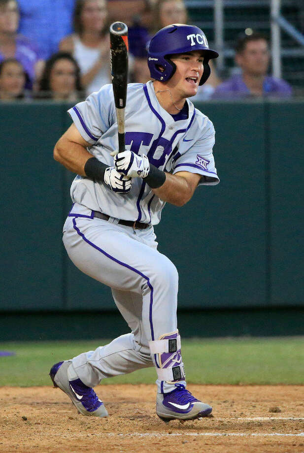 TCU's Austen Wade drives in a run against Arizona State in the eighth inning of an NCAA college baseball regional tournament game in Fort Worth, Texas, Sunday, June 5, 2016. TCU won 8-1. (AP Photo/Ron Jenkins) Photo: Ron Jenkins/AP Photo