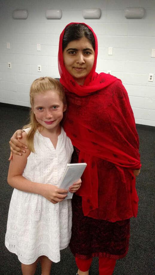 Hilde Kate Lysiak, 9-year-old reporter, interviews Nobel Peace Prize winner Malala Yousafzai of Pakistan in July in Providence, R.I. MUST CREDIT: Matthew Lysiak Photo: Handout