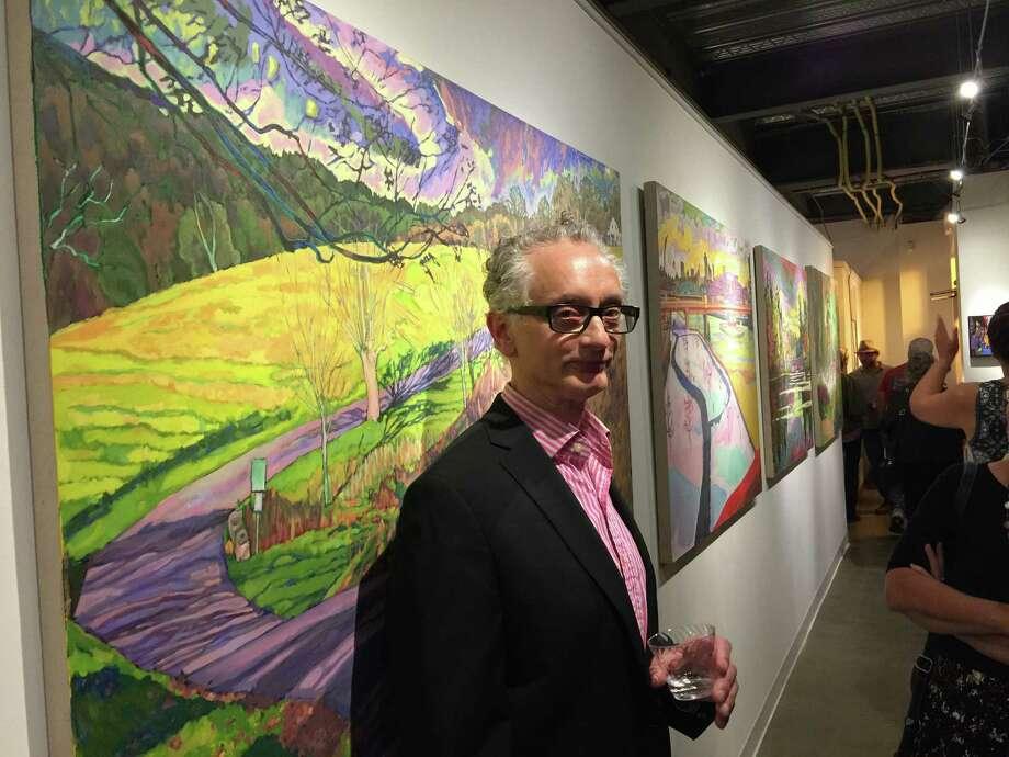 Artist Richard Chandler at the Sidewalk Gallery. Photo: /