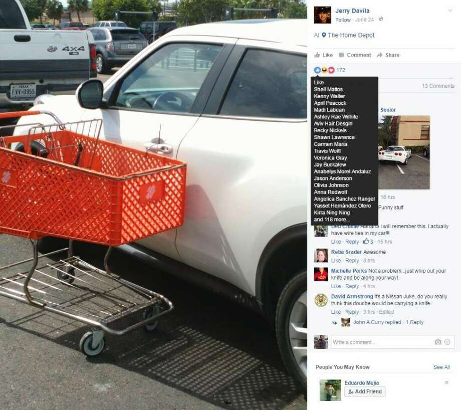 n the same handy fashion of the store, a man used a zip tie and a Home Depot shopping cart to teach the driver of a double-parked car a lesson Photo: Photo: Jerry Davila