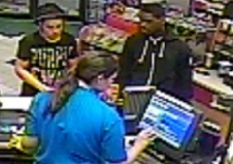FULTONVILLE ? The Montgomery County Sheriff?s Office released two surveillance photographs Monday as they investigate a town of Glen break-in. The two pictured subjects, along with a third, are persons of interest the burglary earlier this month, the sheriff?s office said. Surveillance video appears to show them driving a gold or tan 2000s Buick sedan. The suspects may be from the Johnstown, Gloversville or Albany area, the sheriff?s office said.. (Montgomery County Sheriff's Office)