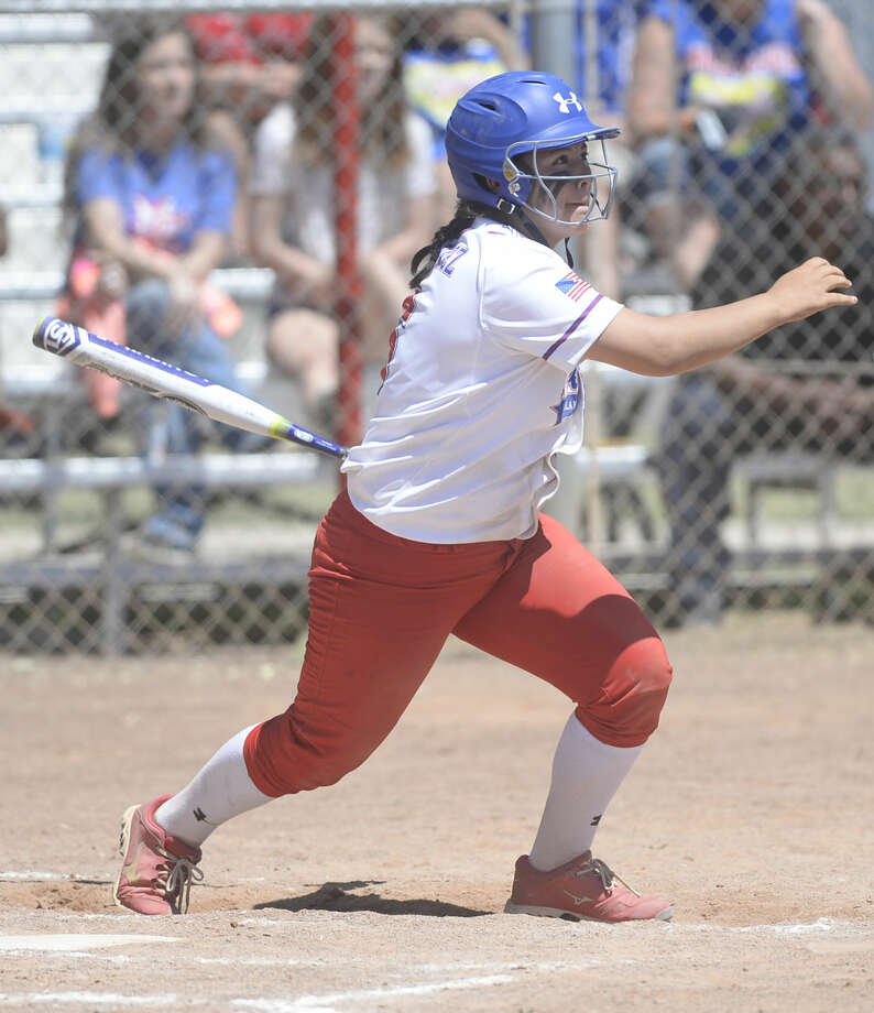 Midland Christian's Clarissa Martinez (6) hits against Frisco Legacy Christian in the TAPPS 4A bi-district playoff Saturday, April 30, 2016, at Freddie Ezell Softball Complex. James Durbin/Reporter-Telegram Photo: James Durbin