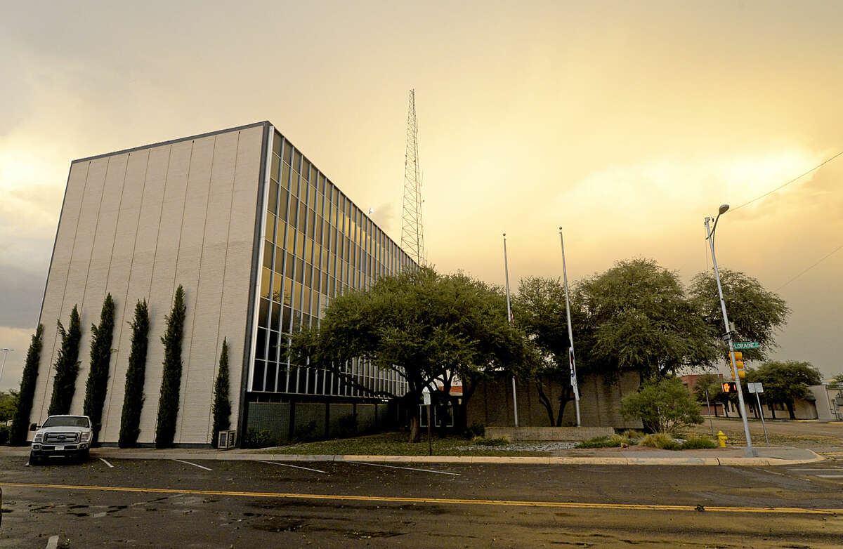 City hall photographed after rain and hail swept through downtown Midland on Friday, July 8, 2016. James Durbin/Reporter-Telegram