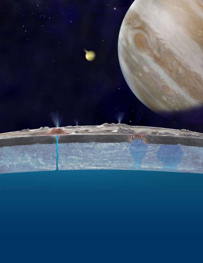 Scenario for getting water to Europa's surface. Artist's conception of ridges and fractures on Europa Photo: NASA/JPL-Caltech
