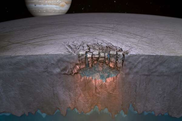 Another scenario for delivering water to Europa's surface. Artist's conception of chaos terrain on Europa