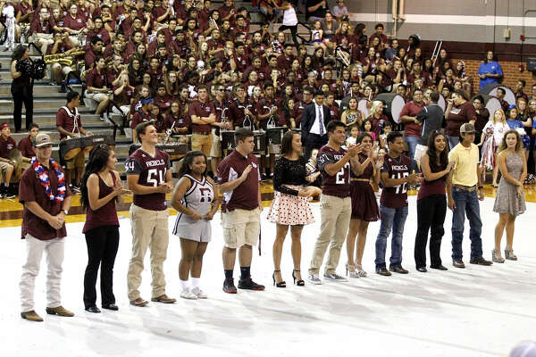 The Lee High senior homecoming court is recognized during the pep rally Thursday, Sept. 15, 2016, at Lee High. James Durbin/Reporter-Telegram