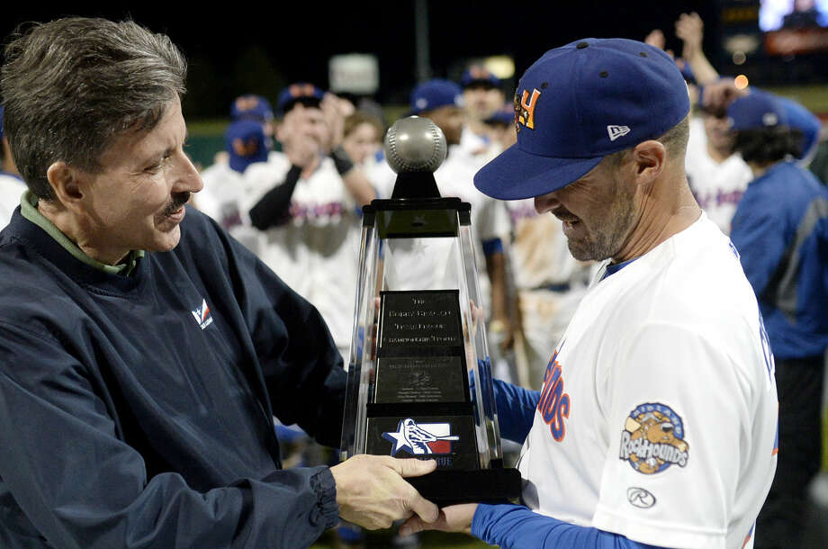 Texas League president Tom Kayser presents RockHounds manager Ryan Christenson with the Texas League trophy after beating Northwest Arkansas in the Texas League Championship series on Friday, Sept. 16, 2016 at Security Bank Ballpark. James Durbin/Reporter-Telegram Photo: James Durbin