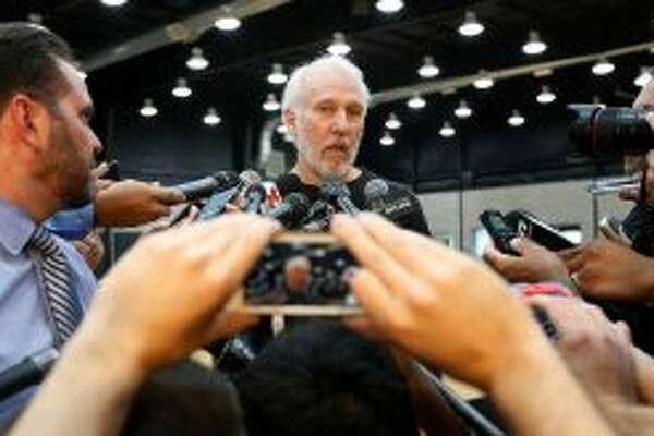 Spurs coach Gregg Popovich at Media Day 2016.