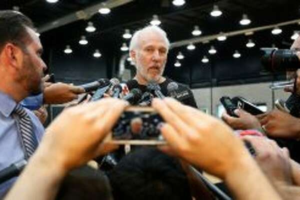 Spurs coach Gregg Popovich at Media Day 2016.