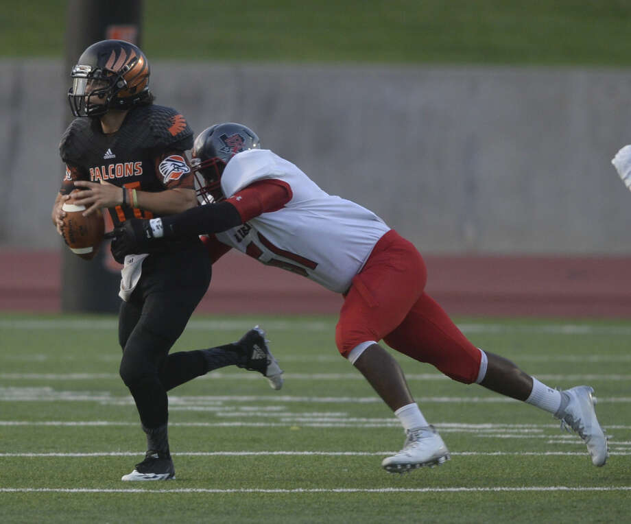 UT Permian Basin's Caden Coots is chased down by Sul Ross' Fentrese Milligan (61) on Saturday, Sept. 3, 2016, at Ratliff Stadium in Odessa. James Durbin/Reporter-Telegram Photo: James Durbin