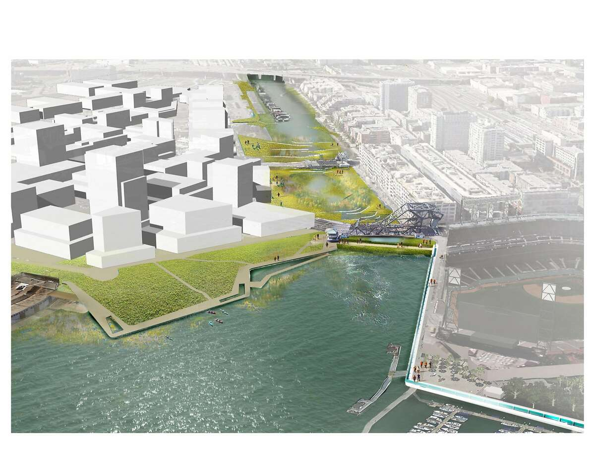 """A conceptual design showing what Mission Creek might look like if it was turned into a fresh-water lake, with a levee closing the current tidal connection to San Francisco Bay. The design is among the conceptual options found in """"Mission Creek Sea Level Rise Study,"""" released on Sept. 26, 2016 and done with participation by five San Francisco city agencies as well as the Bay Conservation and Development Commission."""
