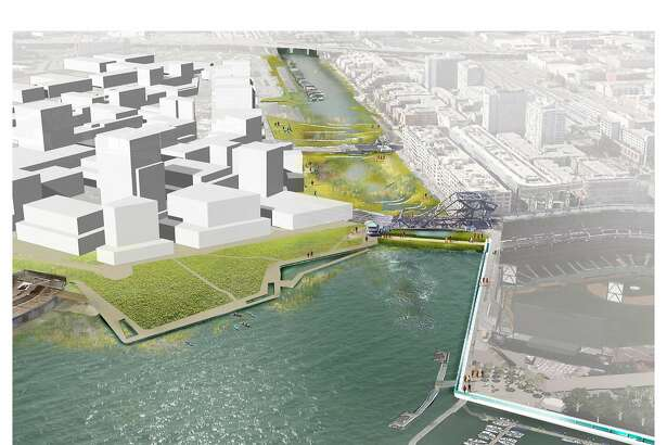 "A conceptual design showing what Mission Creek might look like if it was turned into a fresh-water lake, with a levee closing the current tidal connection to San Francisco Bay. The design is among the conceptual options found in ""Mission Creek Sea Level Rise Study,"" released on Sept. 26, 2016 and done with participation by five San Francisco city agencies as well as the Bay Conservation and Development Commission."