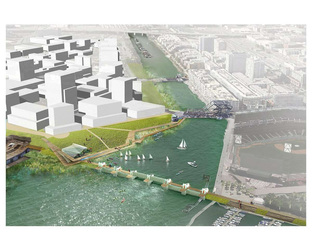 A conceptual image of how a tidal barrier might be added to Mission Creek. The barrier would be closed when storm surges threaten to pour into Mission Creek and cause flooding of the newly developed neighborhood on either side.