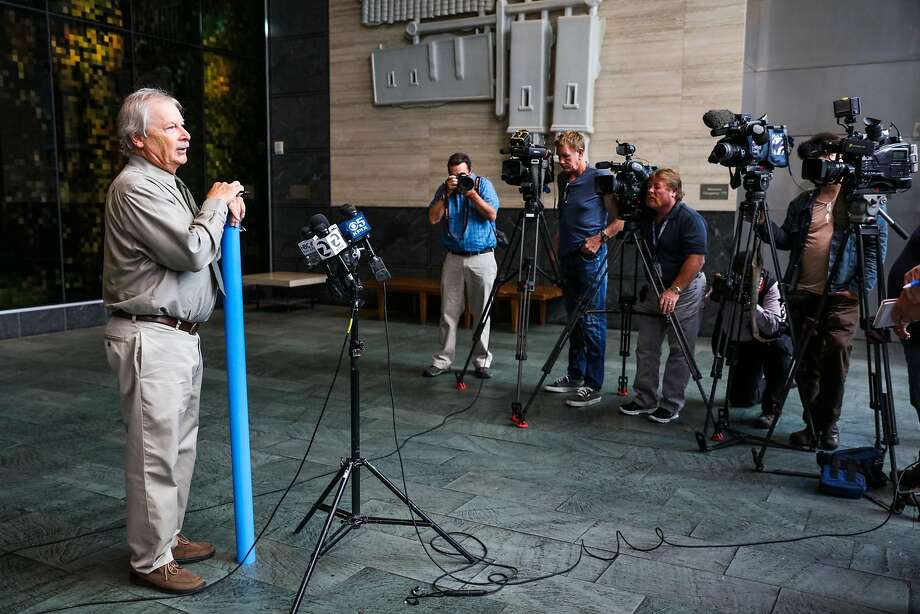 Engineer and consultant Patrick Shires, of Cotton Shires and Associates, speaks at a press conference regarding the investigation of Millennium Tower, a residential building which is leaning, in San Francisco, California, on Monday, Sept. 26, 2016. Photo: Gabrielle Lurie, The Chronicle