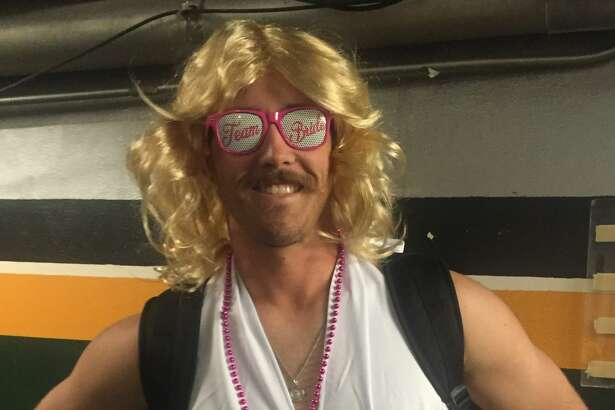 "Pitcher Daniel Mengden. The A's rookies got silly for a ""bachelorette""-themed rookie dress-up day on Sunday, Sept. 25, 2016, at the Oakland Coliseum."