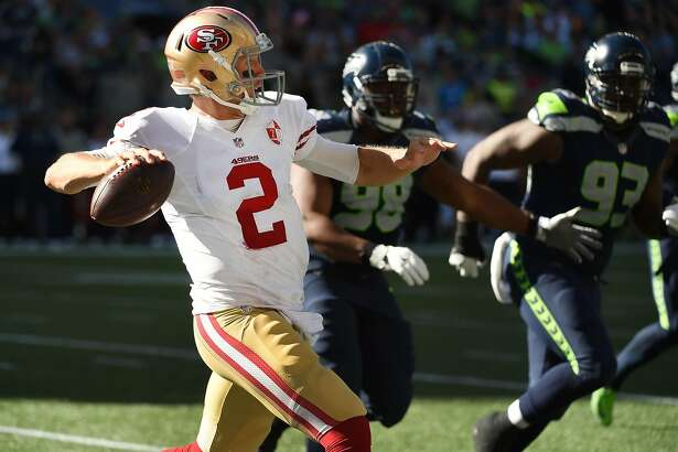 SEATTLE, WA - SEPTEMBER 25: Quarterback Blaine Gabbert #2 of the San Francisco 49ers passes the ball during the third quarter of the game at CenturyLink Field on September 25, 2016 in Seattle,Washington. The Seahawks won the game 37-18.  (Photo by Steve Dykes/Getty Images)