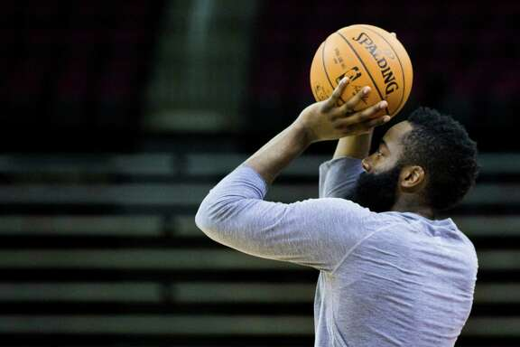 Rockets guard James Harden prepares for the new basketball season at the Toyota Center during the Rockets first day of practice, Saturday, Sept. 24, 2016, in Houston. ( Marie D. De Jesus / Houston Chronicle )