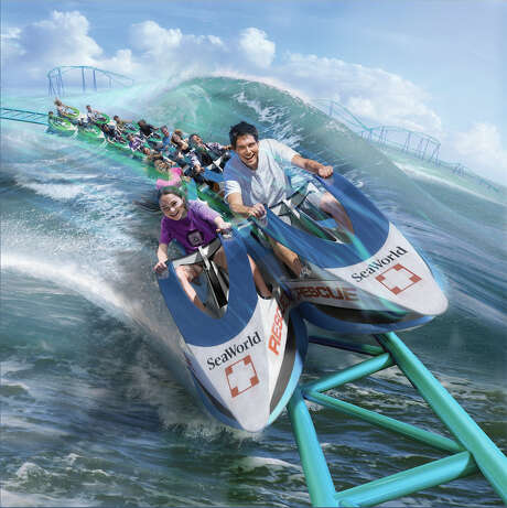 "Shown is a rendering of SeaWorld Entertainment Inc.'s ""Wave Breaker: The Rescue Coaster."" The roller coaster, intended to simulate animal rescue operations, is slated to open at the theme park chain's San Antonio park in summer 2017. Photo: SeaWorld /"