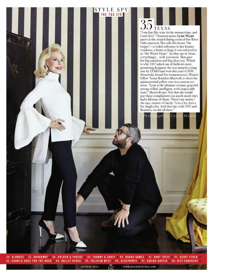 Houstonian Lynn Wyatt and Texas designer Brandon Maxwell are featured in Town & Country's 170th anniversary edition. Photo: Cyrill Matter