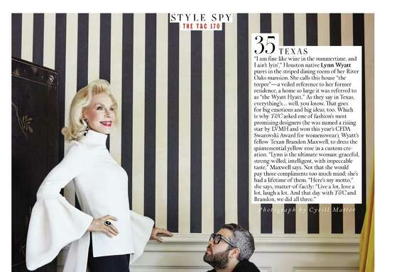 Houstonian Lynn Wyatt and Texas designer Brandon Maxwell are featured in Town & Country's 170th anniversary edition.
