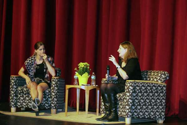 Authors Lauren Groff, at left, and Robin Black had a conversation about the intricacies of writing during Darien and New Canaan libraries' first Head to Head event at St. Luke's School in New Canaan, CT on Sept. 25, 2016.