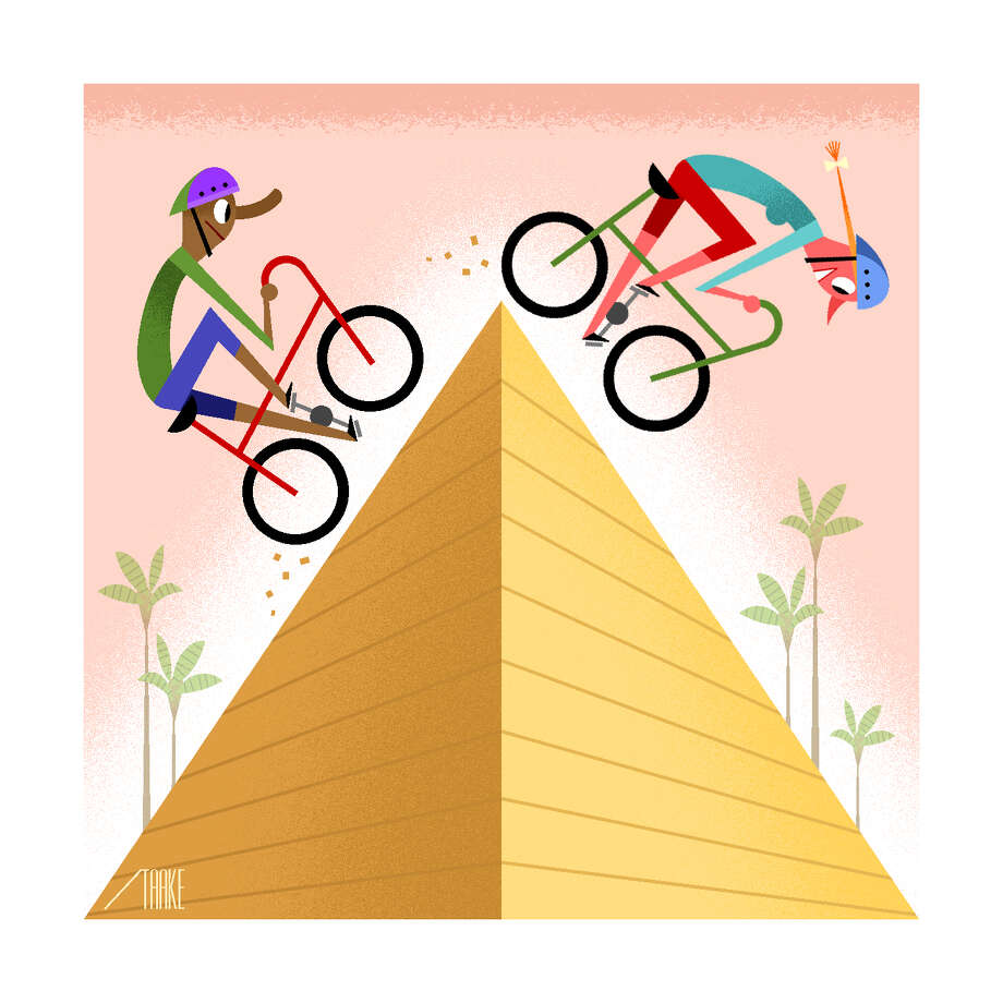 -- PHOTO MOVED IN ADVANCE AND NOT FOR USE - ONLINE OR IN PRINT - BEFORE SEPT. 25, 2016. -- When planning an active vacation, find trips that match your fitness level é' and consider those that offer more than one type of sport. (Bob Staake/The New York Times) -- NO SALES; FOR EDITORIAL USE ONLY WITH  ACTIVE GETAWAYS ADV25 BY SHIVANI VORA FOR SEPT. 25, 2016. ALL OTHER USE PROHIBITED. Photo: BOB STAAKE, STR / NYTNS