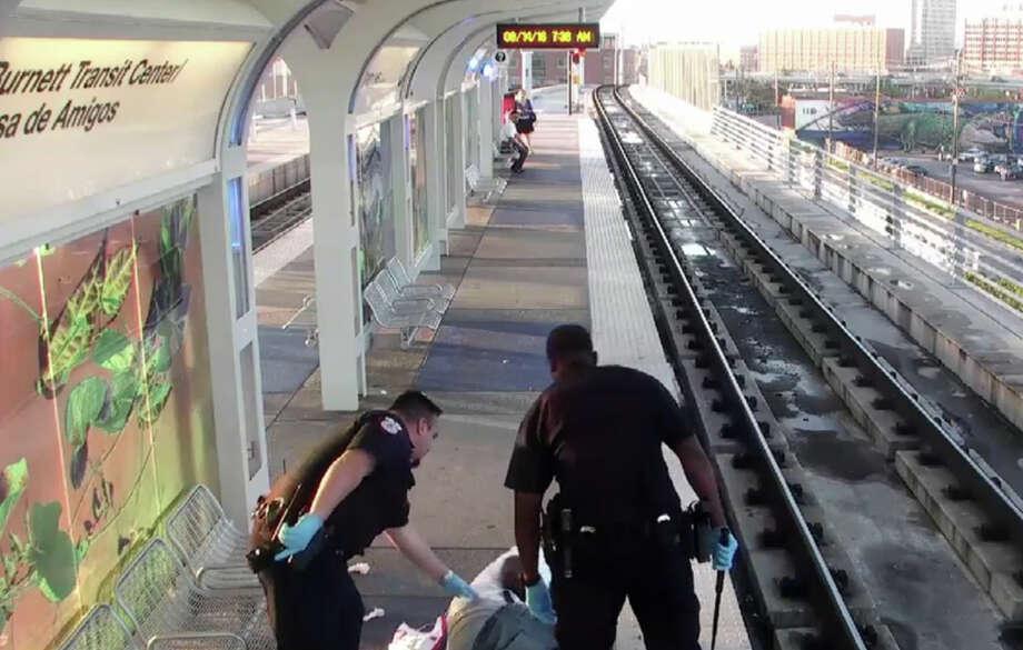 Metro's surveillance cameras caught Officer Jairus Warren beating a man at a rail station. Photo: Metro Police