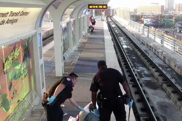 Metro's surveillance cameras caught Officer Jairus Warren beating a man at a rail station.