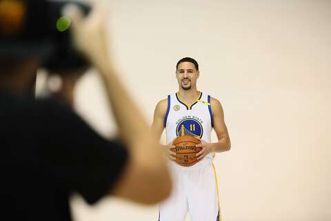 60476cd58dd Klay Thompson of the Golden State Warriors poses for NBA team photographer  Noah Graham during the