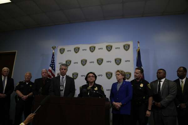 Houston Police Department  Acting Chief Martha Montalvo speaks during a press conference regarding the strip mall shootings which injured 9 people Sept. 26, 2016, in Houston. ( James Nielsen / Houston Chronicle )