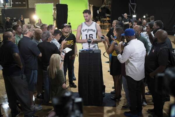 Pau Gasol speaks to members of the media during San Antonio Spurs media day, Monday, Sept. 26, 2016, at the Spurs practice facility in San Antonio. (Darren Abate/For the Express-News)