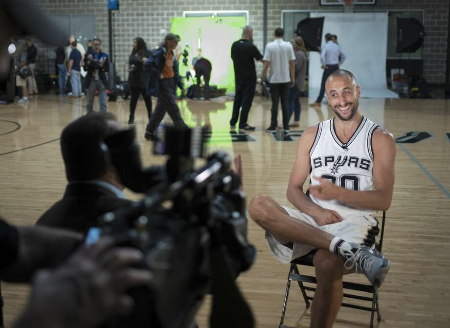 Manu Ginobili is interviewed during San Antonio Spurs media day, Monday, Sept. 26, 2016, at the Spurs practice facility in San Antonio. (Darren Abate/For the Express-News) Photo: Darren Abate/Darren Abate/For The Express-News